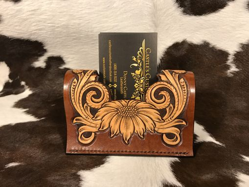Custom Made Leather Business Card Holder & Stand - Hand Tooled