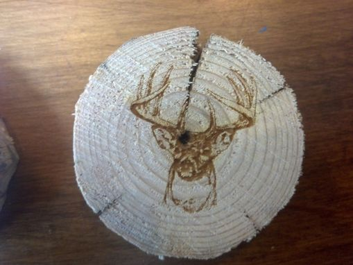 Custom Made Log Coasters With Laser Engraved Image