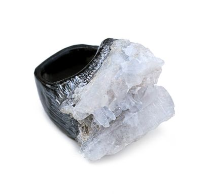 Custom Made Celestite Ring, Raw Celestite With Black & Silver Accents