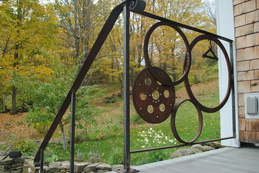 Custom Made Forged Iron Wagon/Gear Wheel Railing