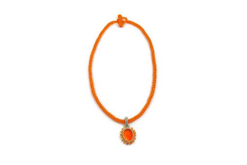Custom Made Bright Neon Orange Pendant And Beaded Necklace