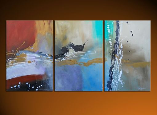 Custom Made Large Modern Paintings - Triptych Multi Panel