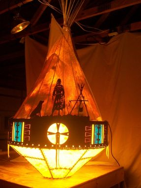 Custom Made Tipi Chandelier/ Ceiling Light Fixture: Standing By The Fire With Dog