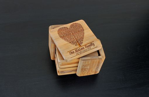 Custom Made Custom Bamboo Coasters, Custom Engraved Coasters --Cst-Bam-Mason Heart Tree