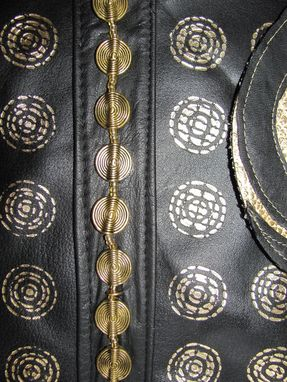 Custom Made Metallic Spiral And Circles Black Leather Dog Coat