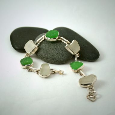 Custom Made Green And White Linked Sea Glass Bracelet