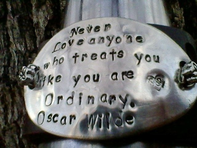 Custom Made The Wilde Truth Upcycled Belt Leather Cuff Oscar Quote Hand