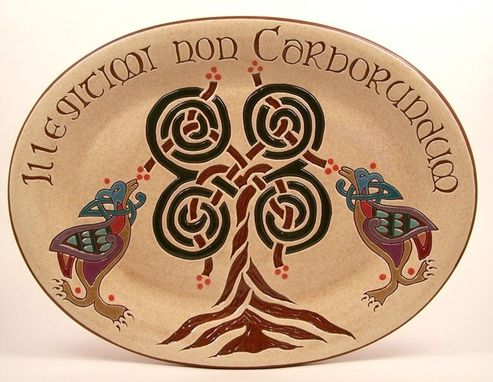 Custom Made Sgraffito Redware Celtic Tree Platter
