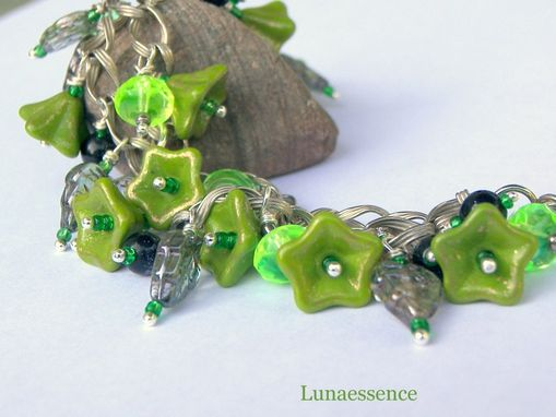 Custom Made Lime In Bloom Floral Bouquet Charm Bracelet