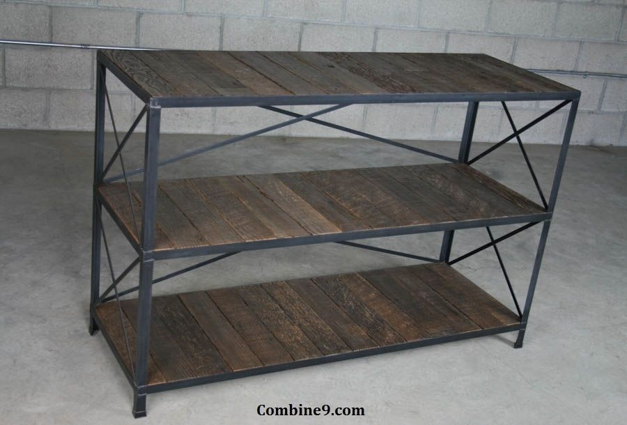 Buy A Hand Made Urban Rustic Shelving Unit Bookcase Mid Century Modern Style Made To Order