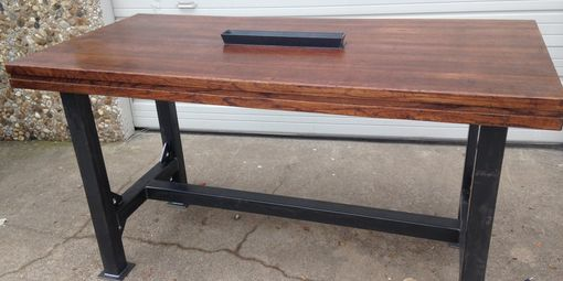 Custom Made Distressed Oak And Steel Mult-Purpose Table