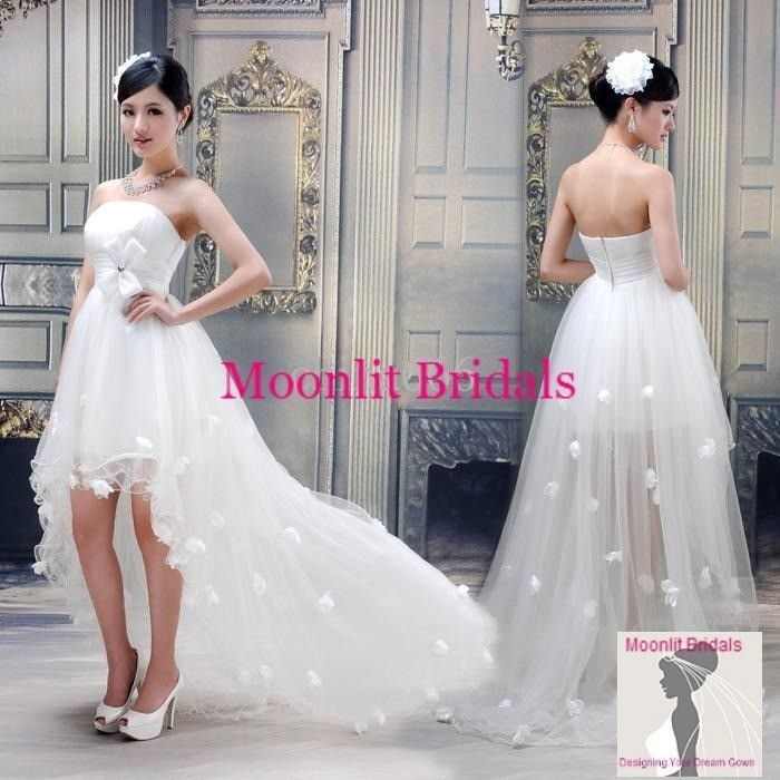 Custom Made Sexy Short Front Long Back Bridal Gown Wedding Dress