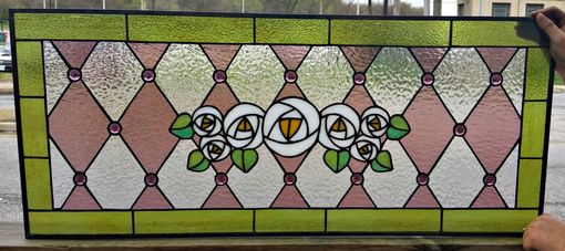 Custom Made Stained Glass Transom Window - Victorian Simplicity - Design 1 (Tw-29)