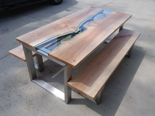 Custom Made Maple River Glass Dining Table With Maple Benches