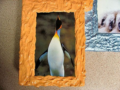 Custom Made 3d Photo Frame Of Polar Bear And Penguin