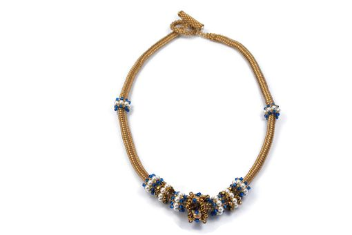 Custom Made Bronze And Sapphire Beaded Necklace With Pearl And Crystal Beaded Beads