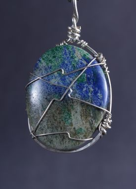 Custom Made Turquoise With Malachite And Azurite Pendant In Sterling Silver