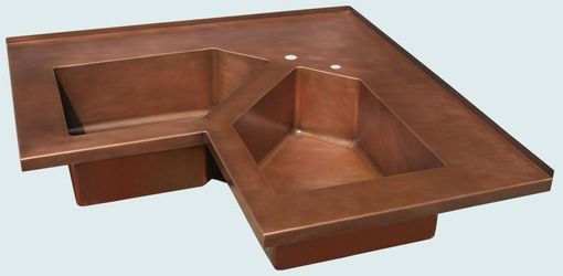 Custom Made Copper Sink With 5-Sided Bowls & Backsplash
