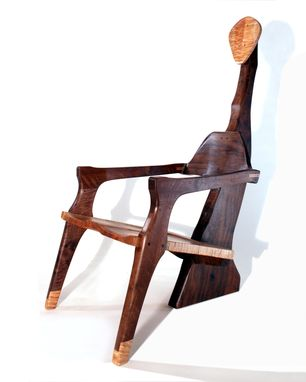 Custom Made Sculptural Claro Walnut And Maple Carved Chair