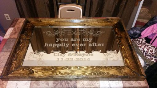 Custom Made Personalized Glass Etched Mirror And Custom Frame