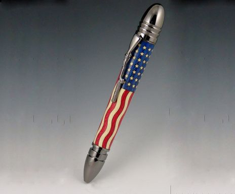 Custom Made Civil War Pen, Hand Crafted Stars And Stripes Wood Inlay