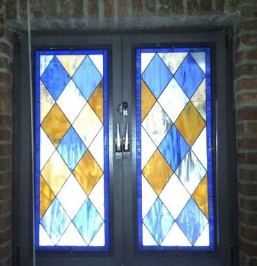 Custom Made Stained Glass Window Panels ---- Simplistic Diamond Design (W-2)