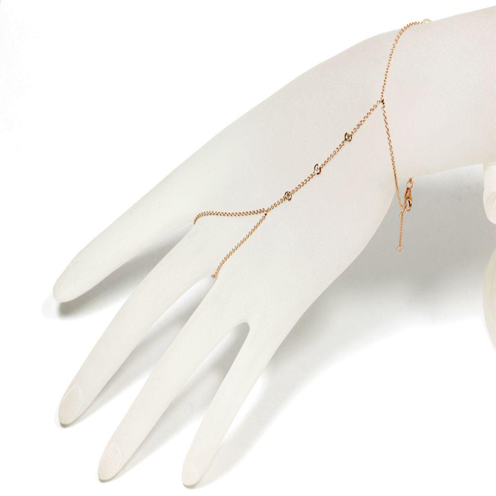 Custom Made Hand Chain Diamond Bracelet 14k Rose Gold Slave