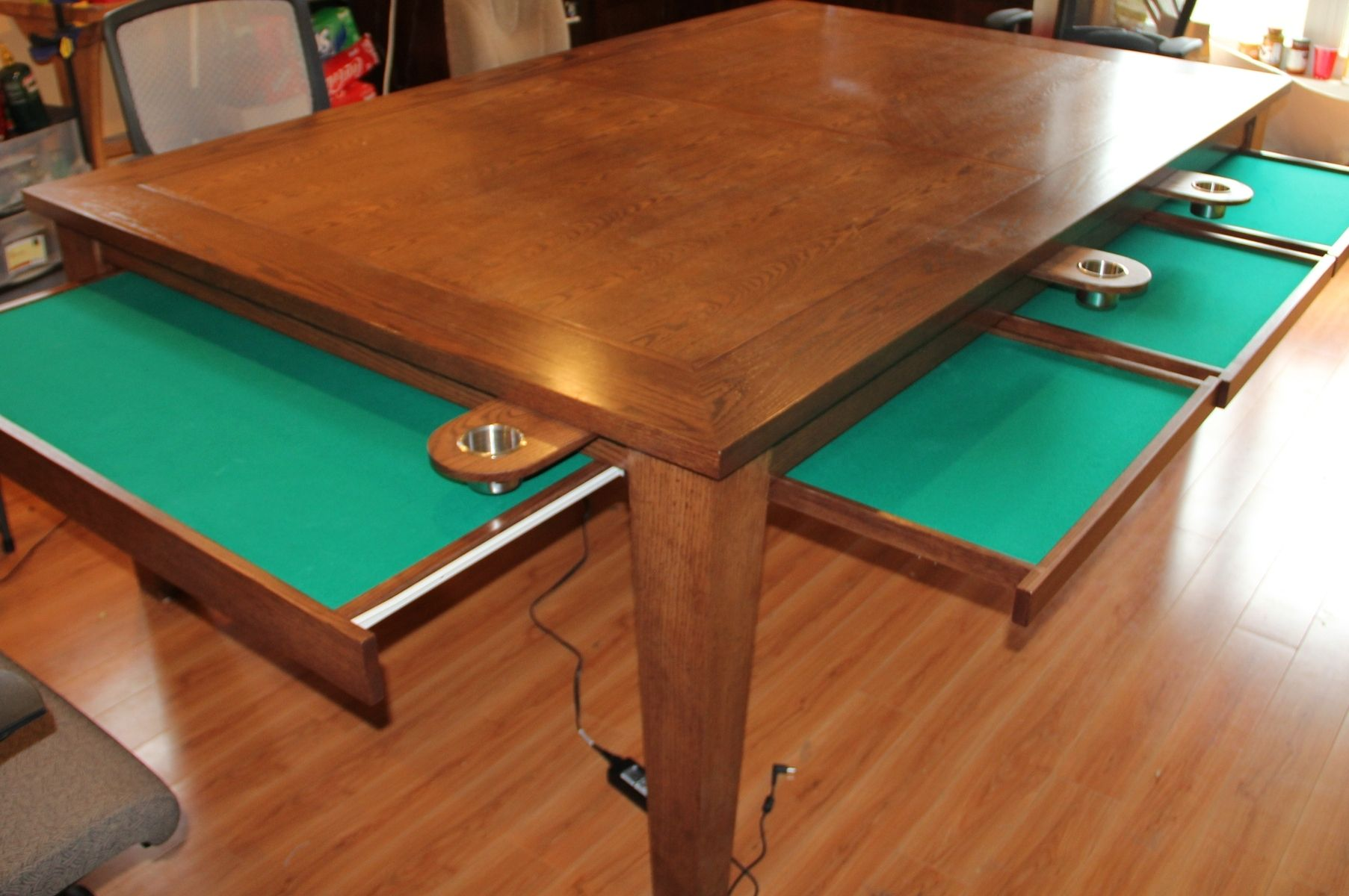 Hand crafted game table w removable top cup holders for Dining room game table