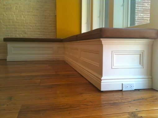 Custom Made Leather Upholstered Storage Bench