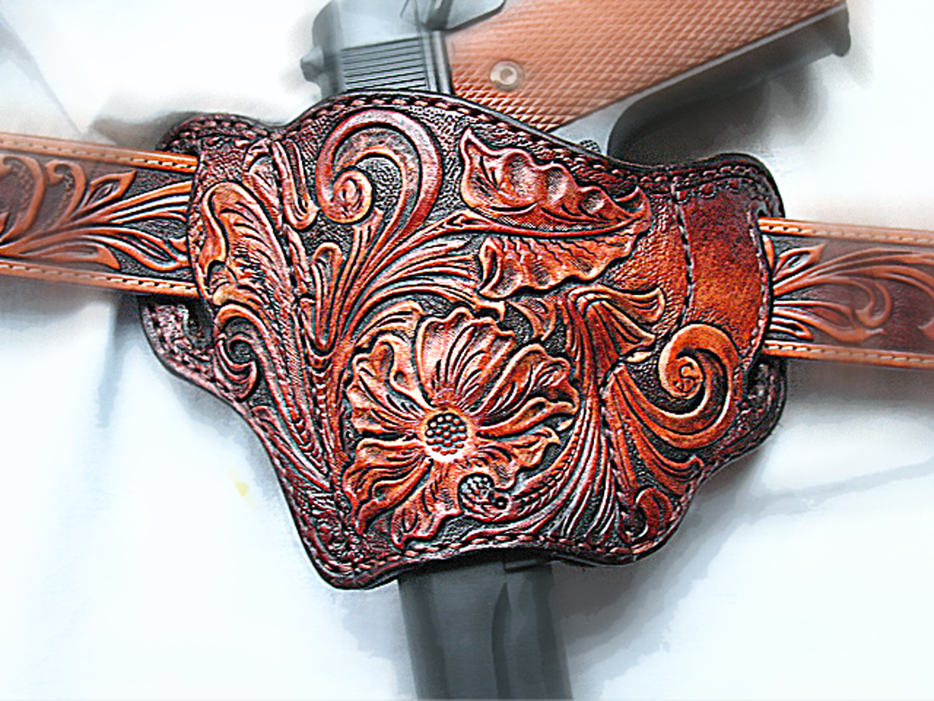 Buy a hand crafted tooled leather pancake holster
