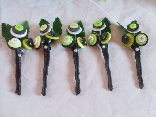 Custom Made Lime Green Buttons Wedding Boutonniere