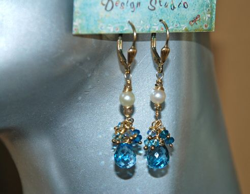 Custom Made Gold Blue Topaz & Diamond Earrings