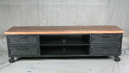 Custom Made Handmade Media Console With Drawers. Reclaimed Wood Top - Urban Modern Entertainment Center.