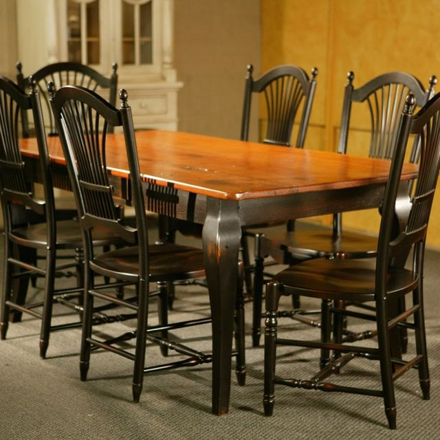 Hand Made Pine Dining Table With Brown Cherry Finish & Black French ...