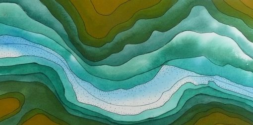 Custom Made Watercolor Topography: Panoramic Views Of Canyons, Rivers