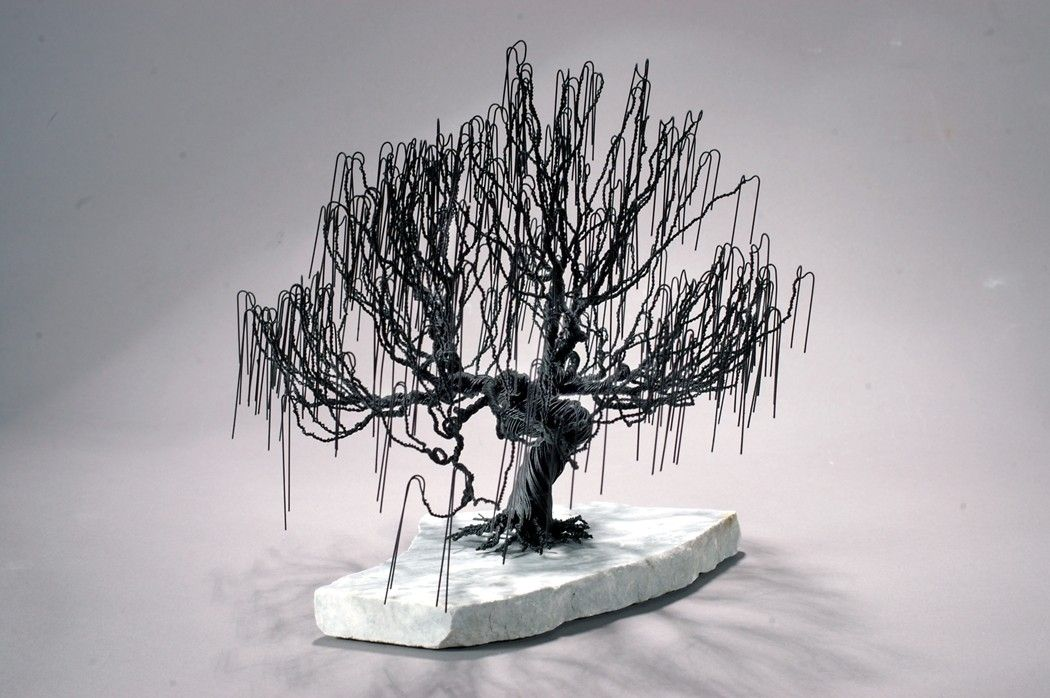 Hand crafted weeping willow wire bonsai tree by golomb art