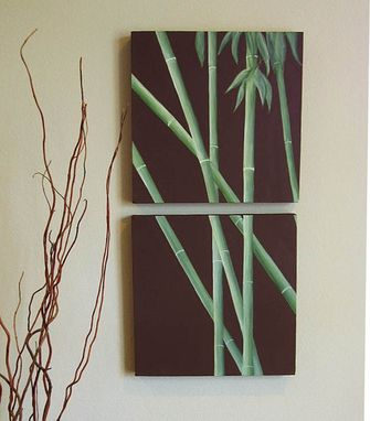Custom Made Bamboo Still Life 2 Panel Canvas Painting