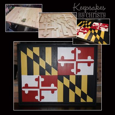 Custom Made Wooden Maryland Flag - 3d