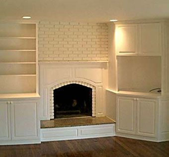 Custom Made Custom Built-Ins On Either Side Of Fireplace