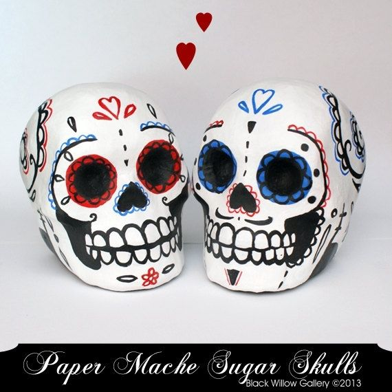 Hand Made Red Amp Blue Day Of The Dead Paper Mache Skull