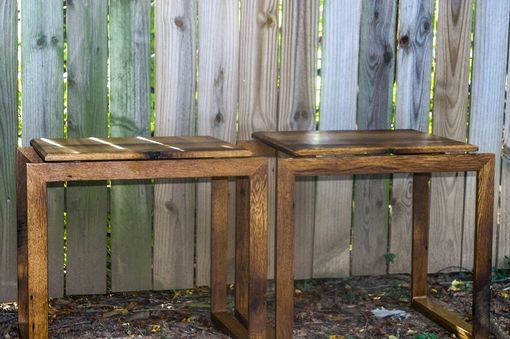 Custom Made Reclaimed White Oak Mid-Century Modern Matching End Tables