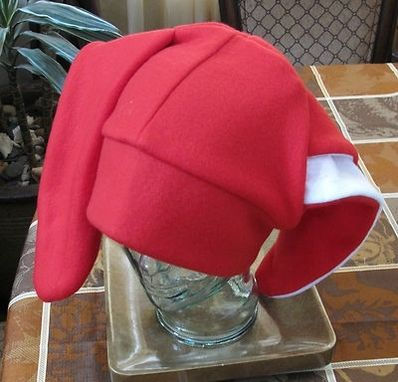 "Custom Made Red Fleece Bunny,Kangaroo,Dog,Donkey 9""Ear Fleece Winter Beanie Hat"