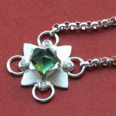 Custom Made Diamond Lotus Pendant With Green Tourmaline Handmade By Cristina Hurley