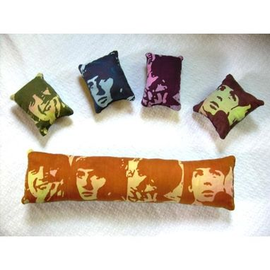 Custom Made Beatles Pillows -- Hand-Printed Fabric