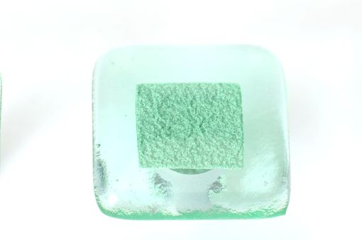 Custom Made Square Transparent Glass Cabinet Pull With Emerald Inclusion