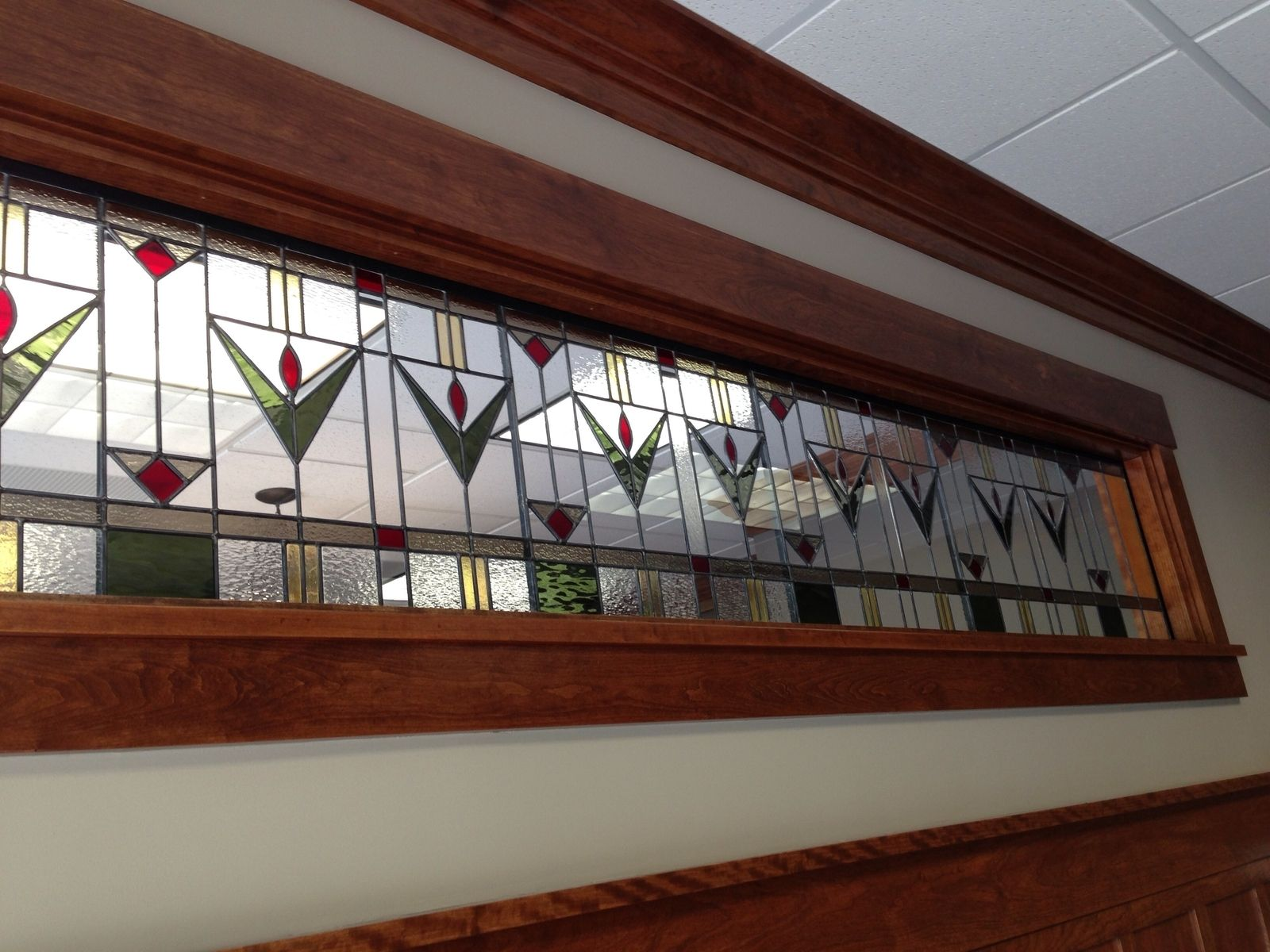 Custom prairie style transom for office by phb stained for Custom transom