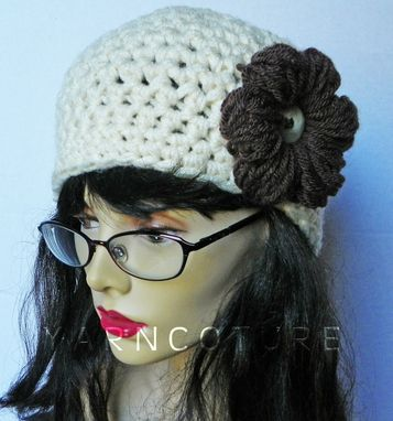 Custom Made The Chunky Cloche/Beanie/Crochet Hat W/ Crochet Puff Flower,Cream,Spring,Summer,Fall,Winter Fashion