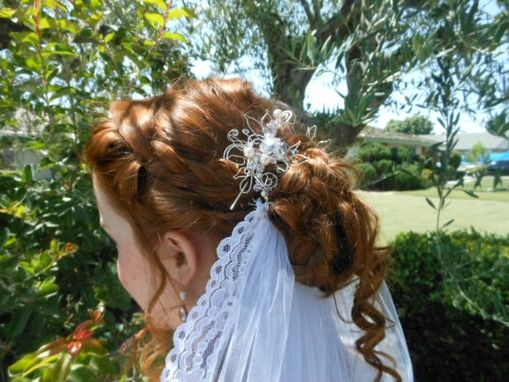 Custom Made Silver Hair Piece With Removable Veil And Swarovski Crystals