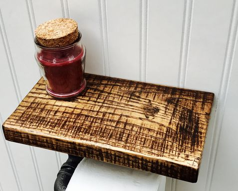 Custom Made Rustic Oak And Pipe Toilet Paper Holder