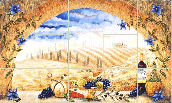 Hand Made Tuscany Arch Kitchen Backsplash Tile Mural by Linda Paul ...